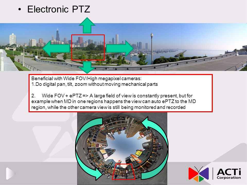 Electronic PTZ Beneficial with Wide FOV/High megapixel cameras: