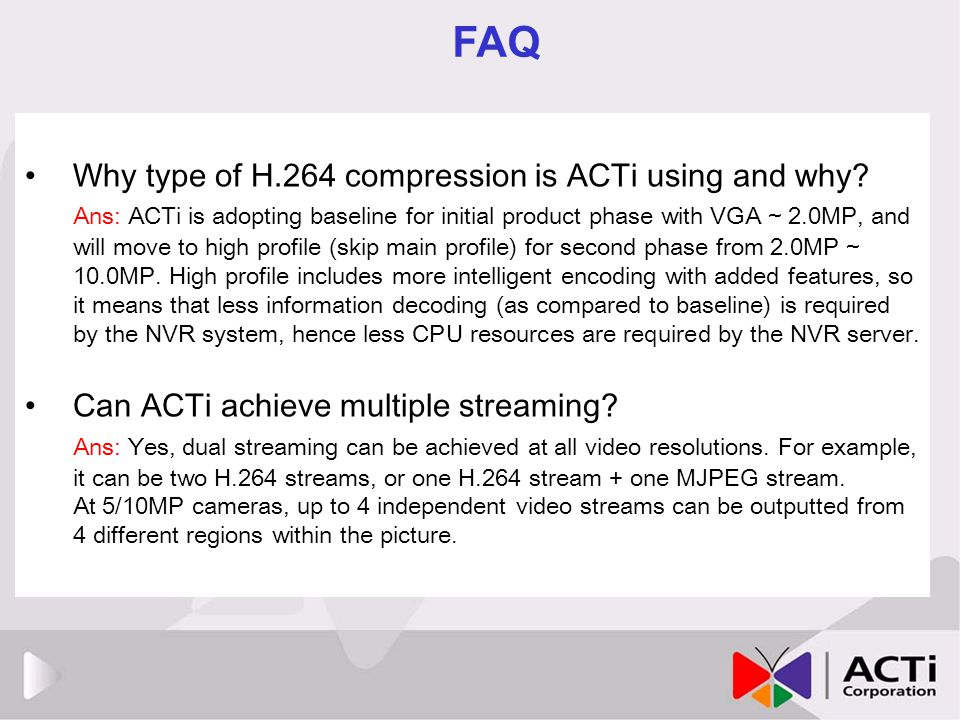 FAQ Why type of H.264 compression is ACTi using and why