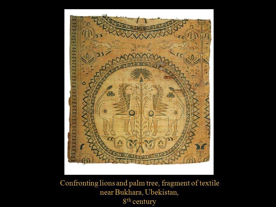 Confronting lions and palm tree, fragment of textile