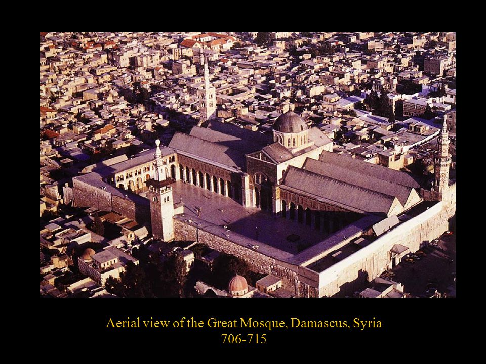 Aerial view of the Great Mosque, Damascus, Syria