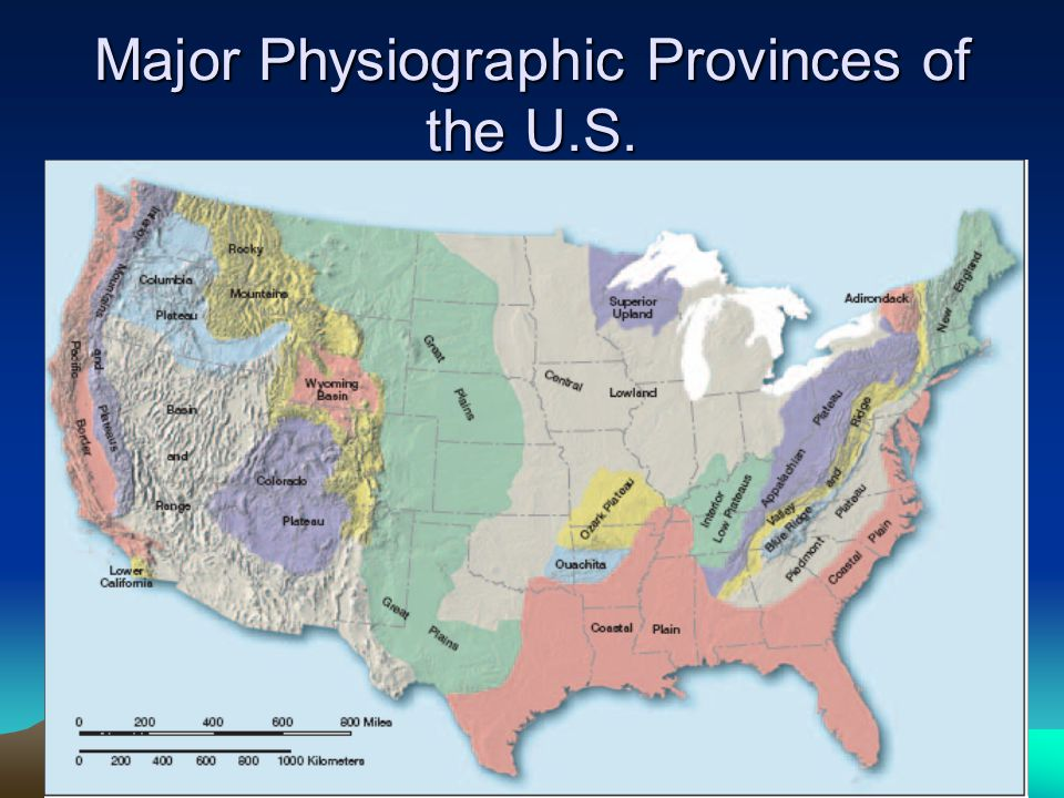 Major Physiographic Provinces of the U.S.