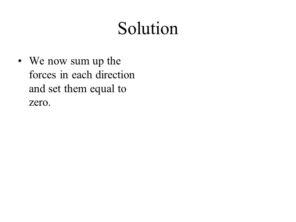 Solution We now sum up the forces in each direction and set them equal to zero.