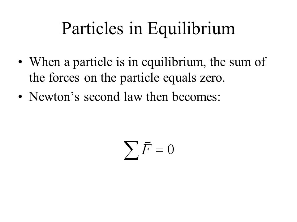 Particles in Equilibrium