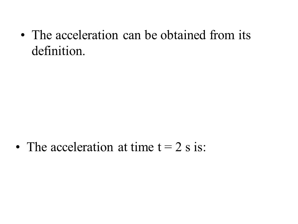 The acceleration can be obtained from its definition.