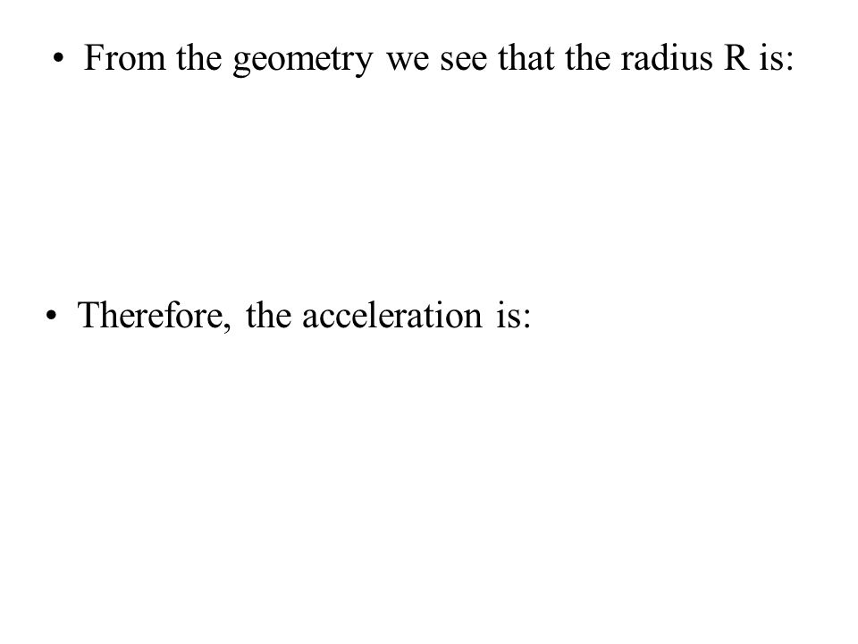 From the geometry we see that the radius R is: