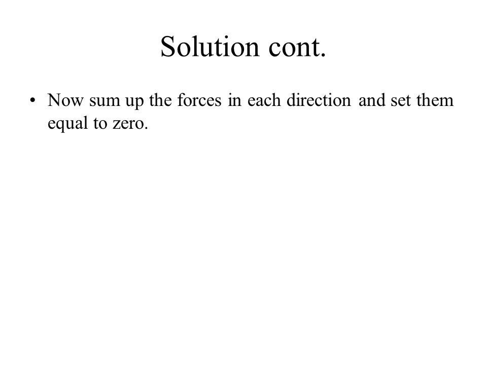 Solution cont. Now sum up the forces in each direction and set them equal to zero.