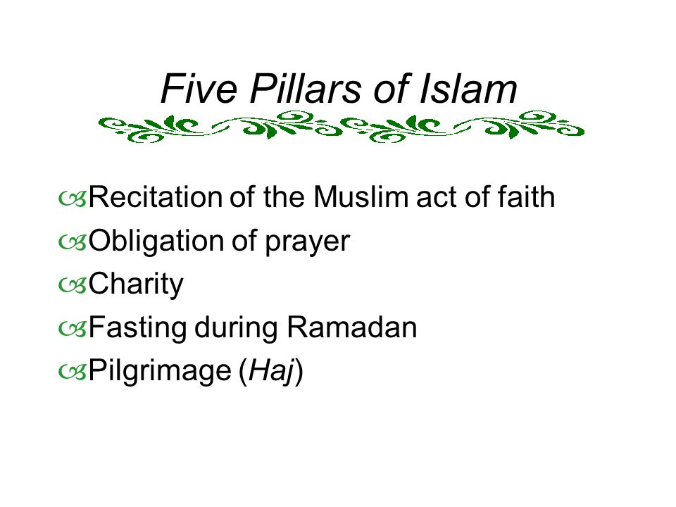 Five Pillars of Islam Recitation of the Muslim act of faith