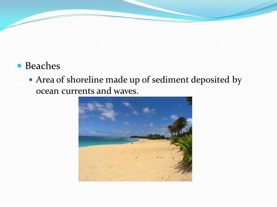 Beaches Area of shoreline made up of sediment deposited by ocean currents and waves.