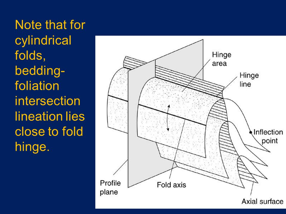Note that for cylindrical folds, bedding-foliation intersection lineation lies close to fold hinge.