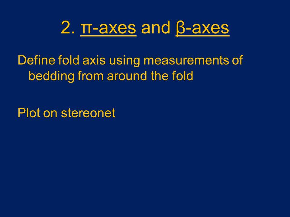 2. π-axes and β-axes Define fold axis using measurements of bedding from around the fold.