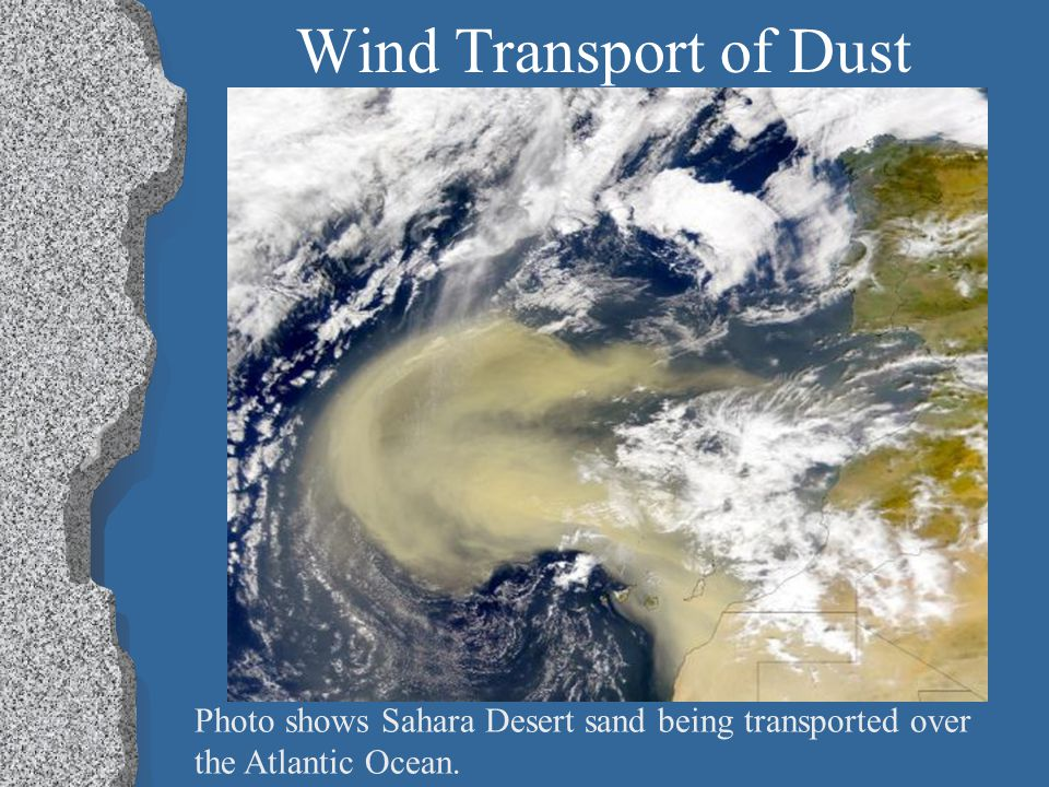 Wind Transport of Dust Photo shows Sahara Desert sand being transported over the Atlantic Ocean.