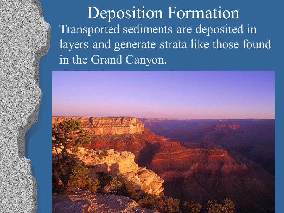 Deposition Formation Transported sediments are deposited in