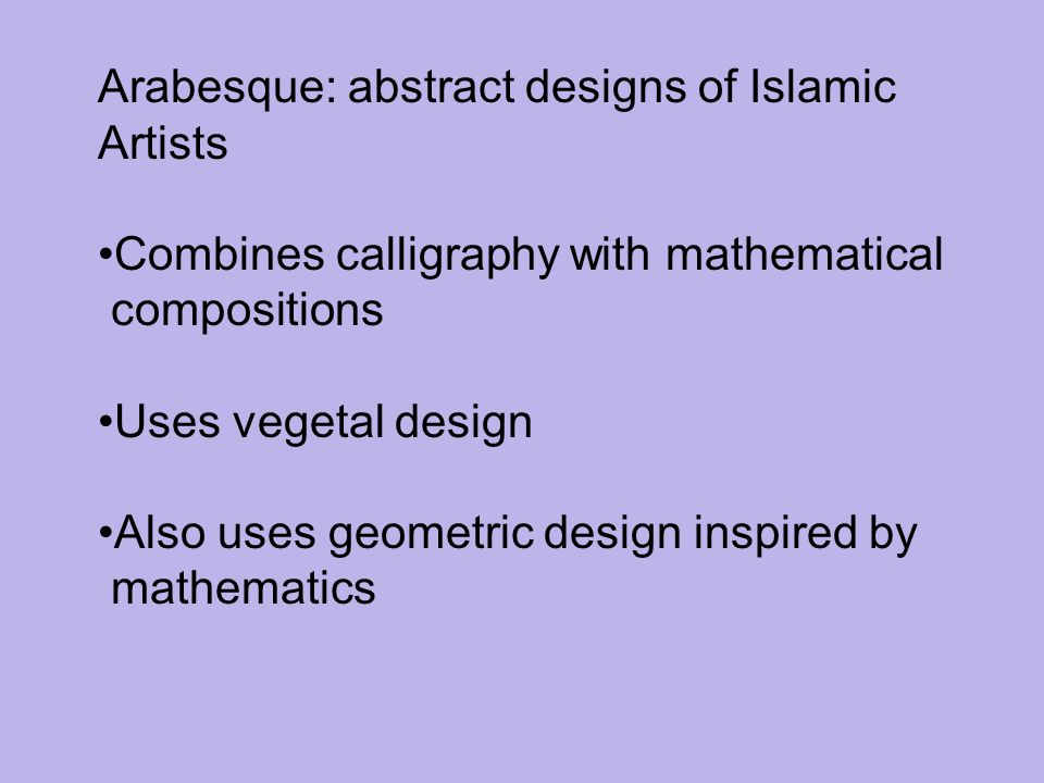 Arabesque: abstract designs of Islamic
