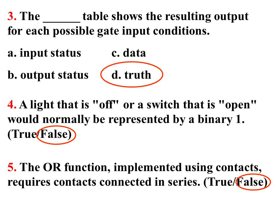 3. The ______ table shows the resulting output for each possible gate input conditions.