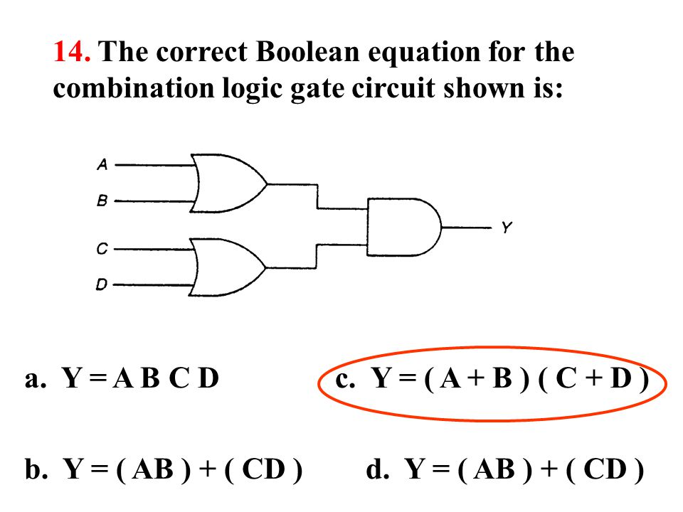14. The correct Boolean equation for the combination logic gate circuit shown is: