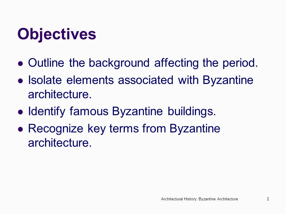 Objectives Outline the background affecting the period.