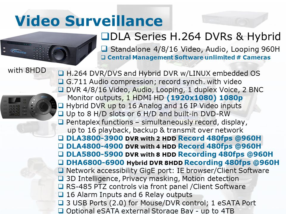 Video Surveillance DLA Series H.264 DVRs & Hybrid