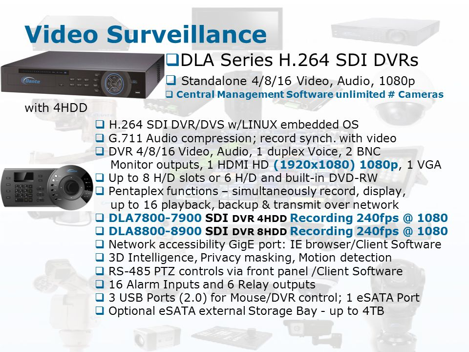 Video Surveillance DLA Series H.264 SDI DVRs