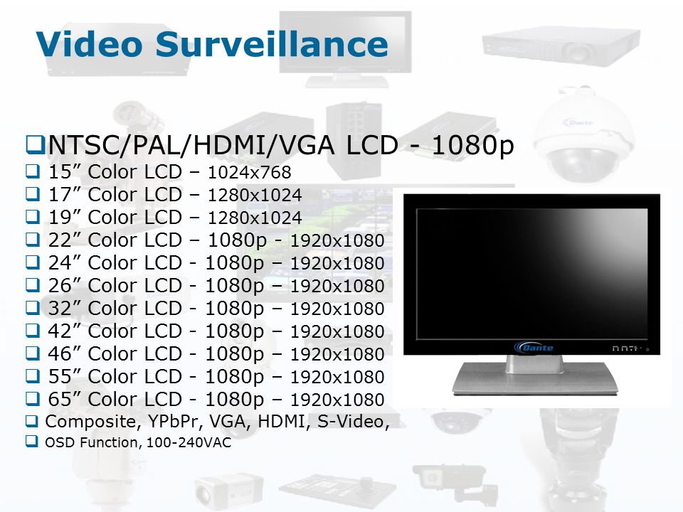 Video Surveillance NTSC/PAL/HDMI/VGA LCD - 1080p