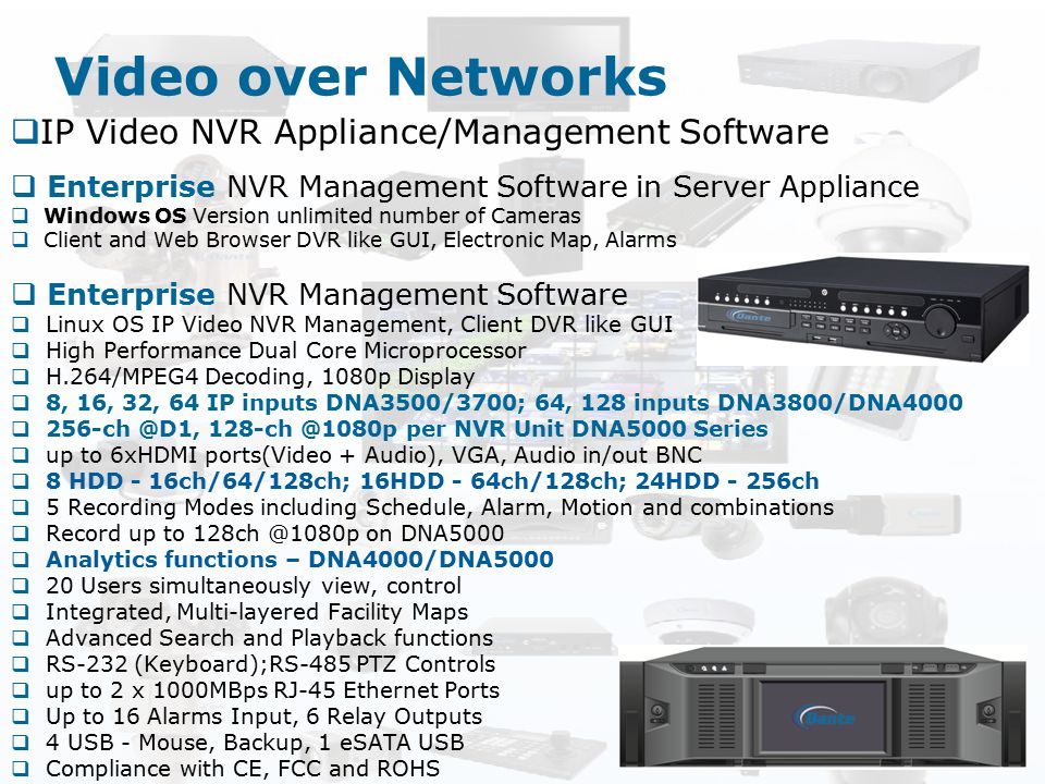 Video over Networks IP Video NVR Appliance/Management Software