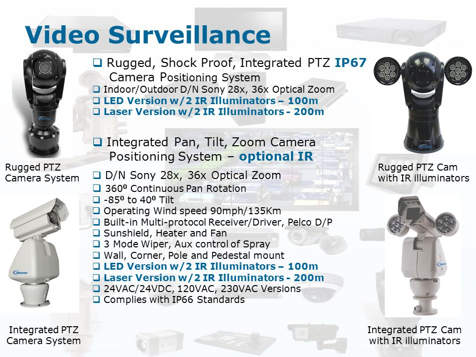 Video Surveillance Rugged, Shock Proof, Integrated PTZ IP67