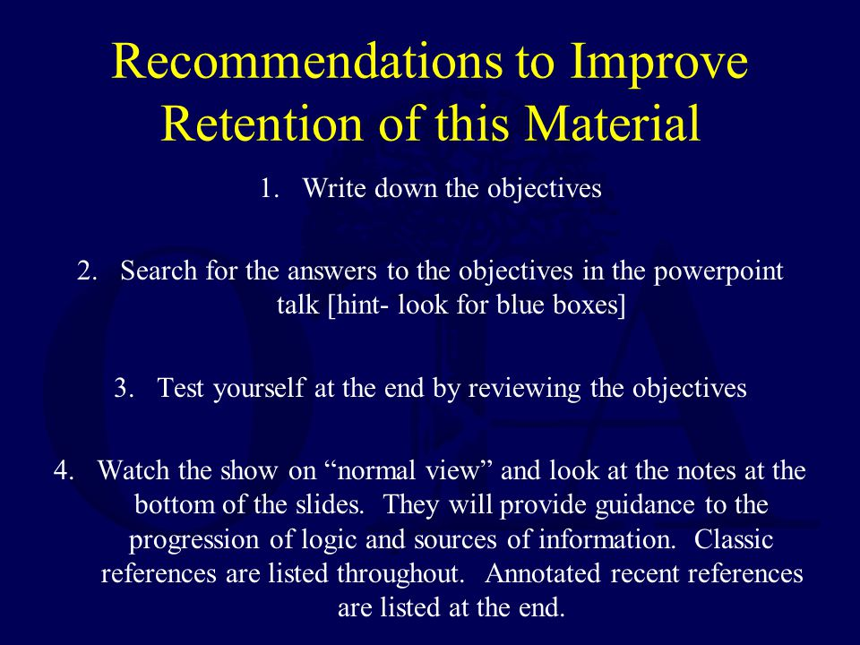 Recommendations to Improve Retention of this Material
