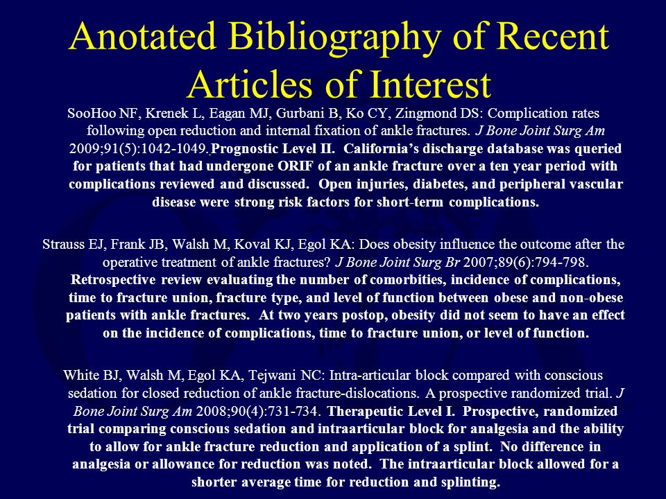 Anotated Bibliography of Recent Articles of Interest