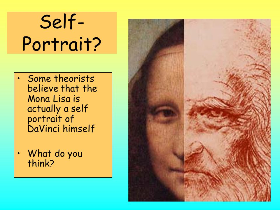 Self-Portrait Some theorists believe that the Mona Lisa is actually a self portrait of DaVinci himself.