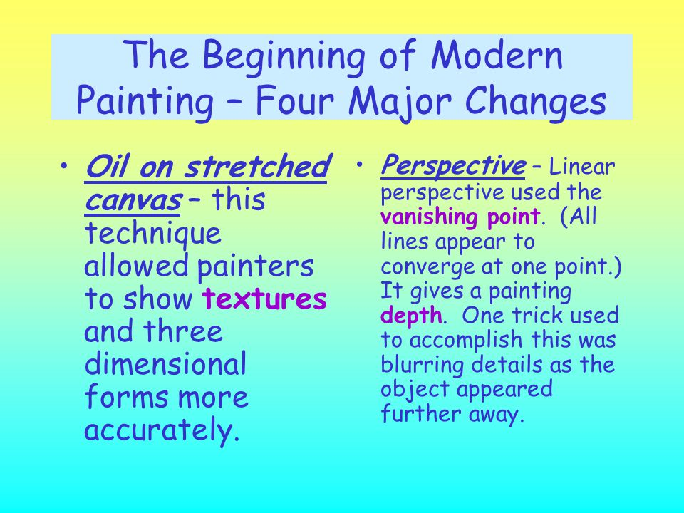 The Beginning of Modern Painting – Four Major Changes