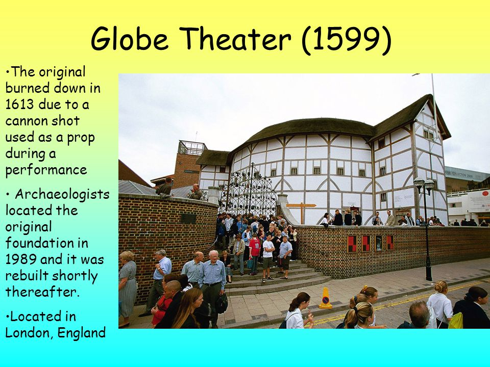 Globe Theater (1599) The original burned down in 1613 due to a cannon shot used as a prop during a performance.