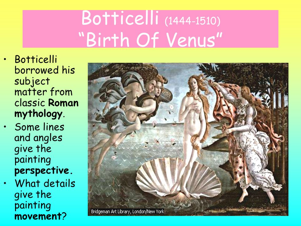 Botticelli (1444-1510) Birth Of Venus