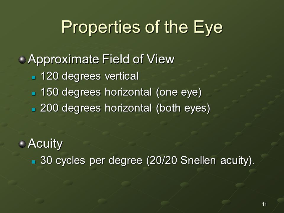 Properties of the Eye Approximate Field of View Acuity