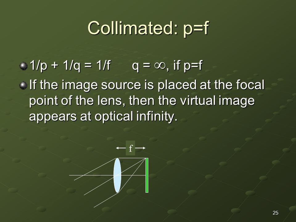 Collimated: p=f 1/p + 1/q = 1/f q = , if p=f