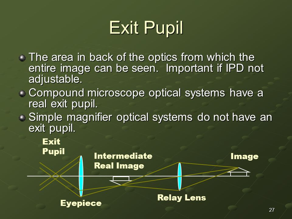 Exit Pupil The area in back of the optics from which the entire image can be seen. Important if IPD not adjustable.