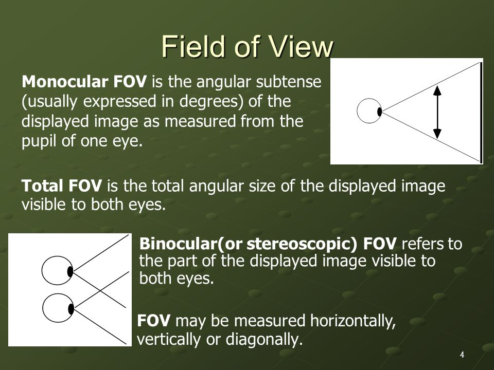 Field of View Monocular FOV is the angular subtense (usually expressed in degrees) of the displayed image as measured from the pupil of one eye.