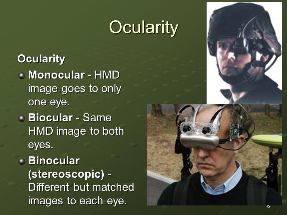 Ocularity Ocularity Monocular - HMD image goes to only one eye.