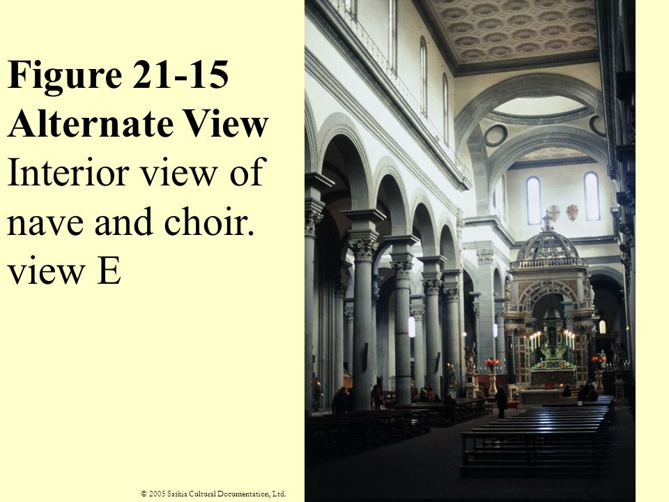 Figure 21-15 Alternate View Interior view of nave and choir. view E