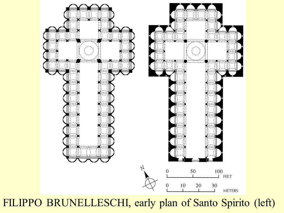 FILIPPO BRUNELLESCHI, early plan of Santo Spirito (left)