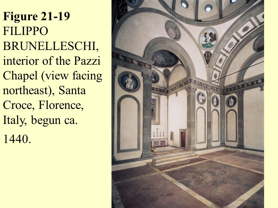 Figure 21-19 FILIPPO BRUNELLESCHI, interior of the Pazzi Chapel (view facing northeast), Santa Croce, Florence, Italy, begun ca.