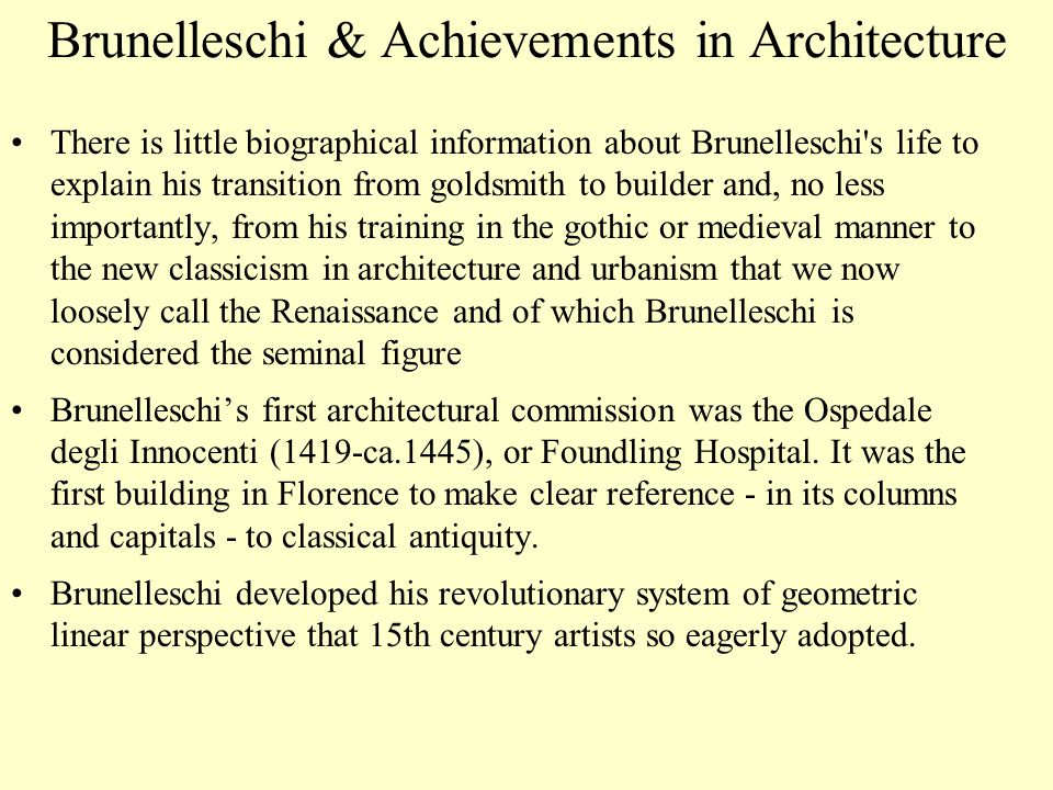 Brunelleschi & Achievements in Architecture