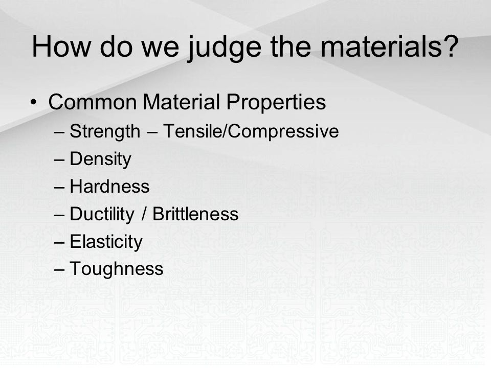 How do we judge the materials