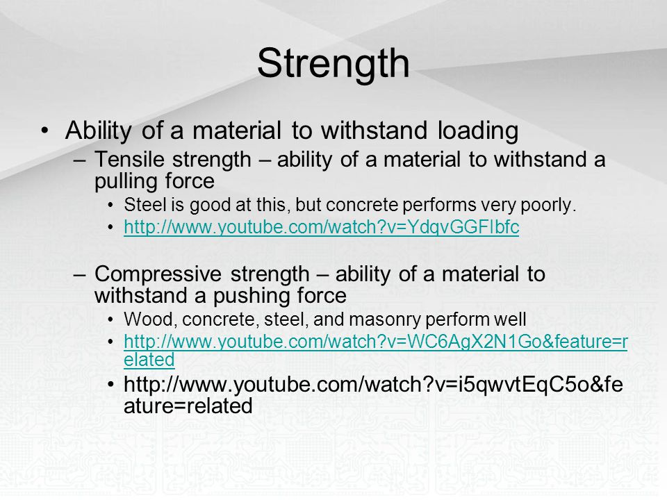 Strength Ability of a material to withstand loading