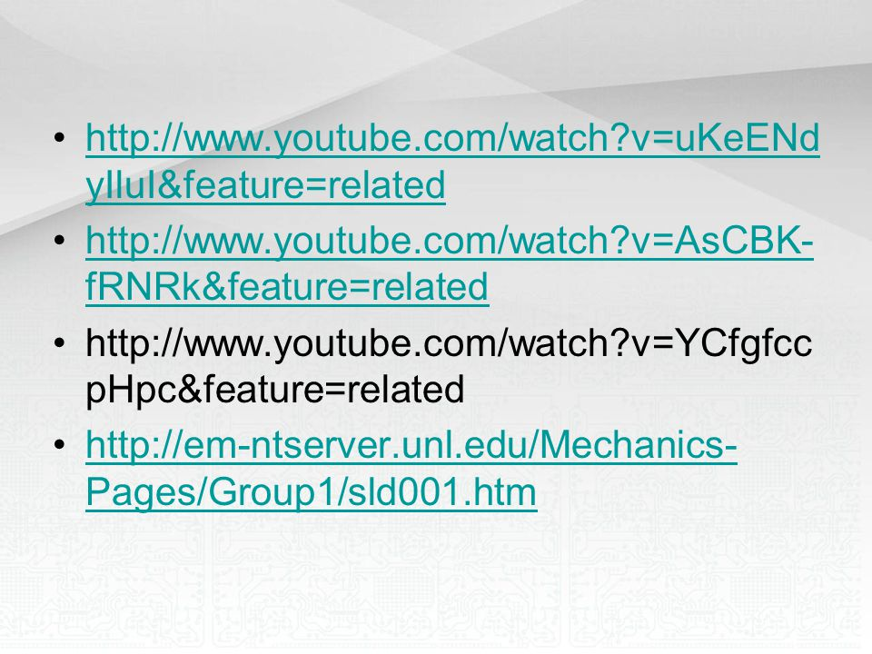 http://www.youtube.com/watch v=uKeENdyIluI&feature=related http://www.youtube.com/watch v=AsCBK-fRNRk&feature=related.