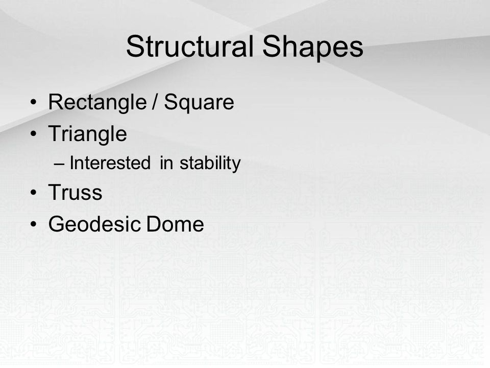 Structural Shapes Rectangle / Square Triangle Truss Geodesic Dome