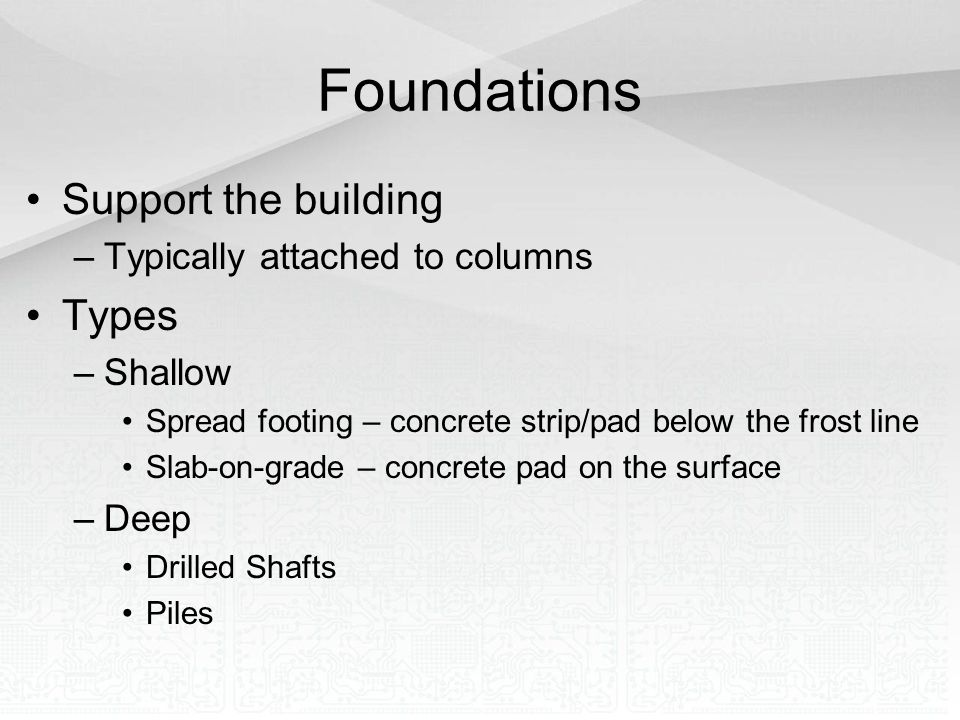 Foundations Support the building Types Typically attached to columns