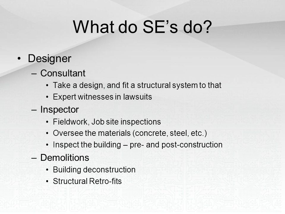 What do SE's do Designer Consultant Inspector Demolitions