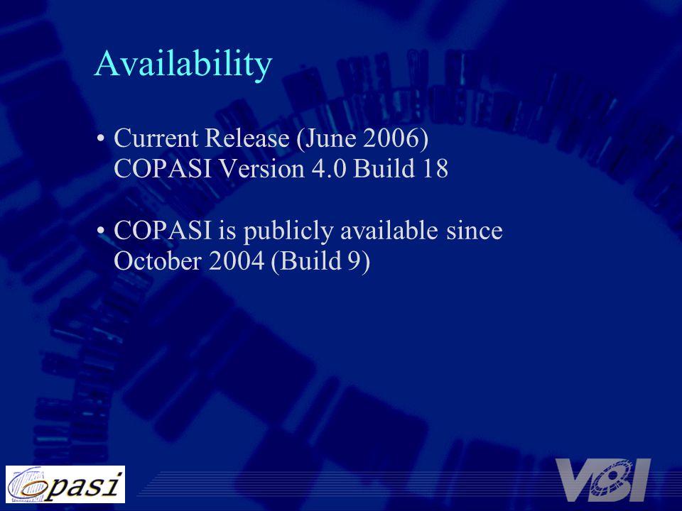 Availability Current Release (June 2006) COPASI Version 4.0 Build 18