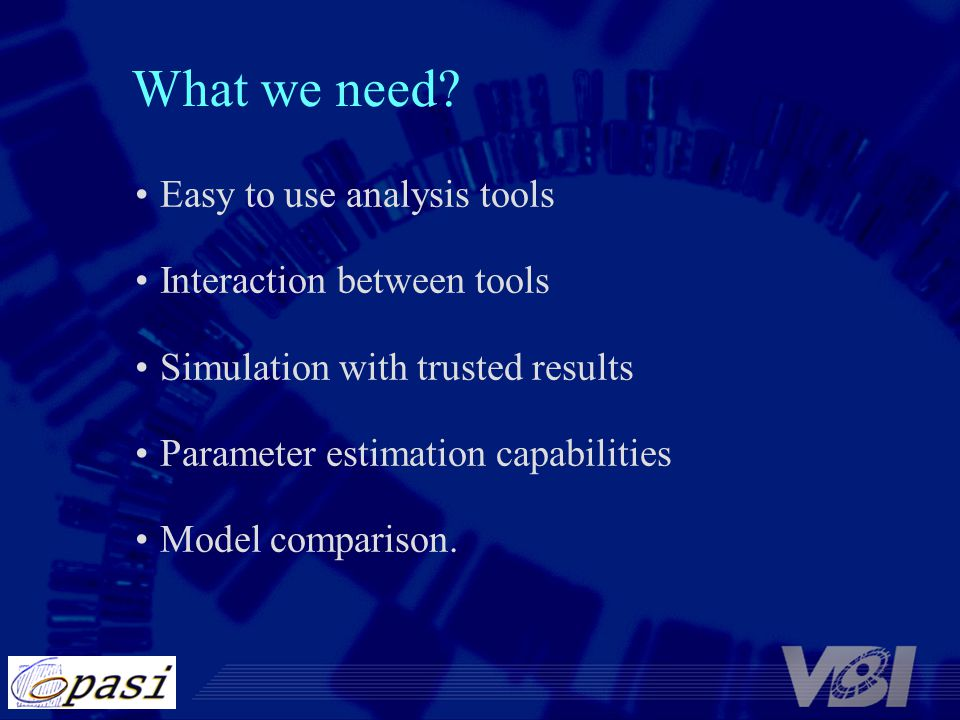 What we need Easy to use analysis tools Interaction between tools