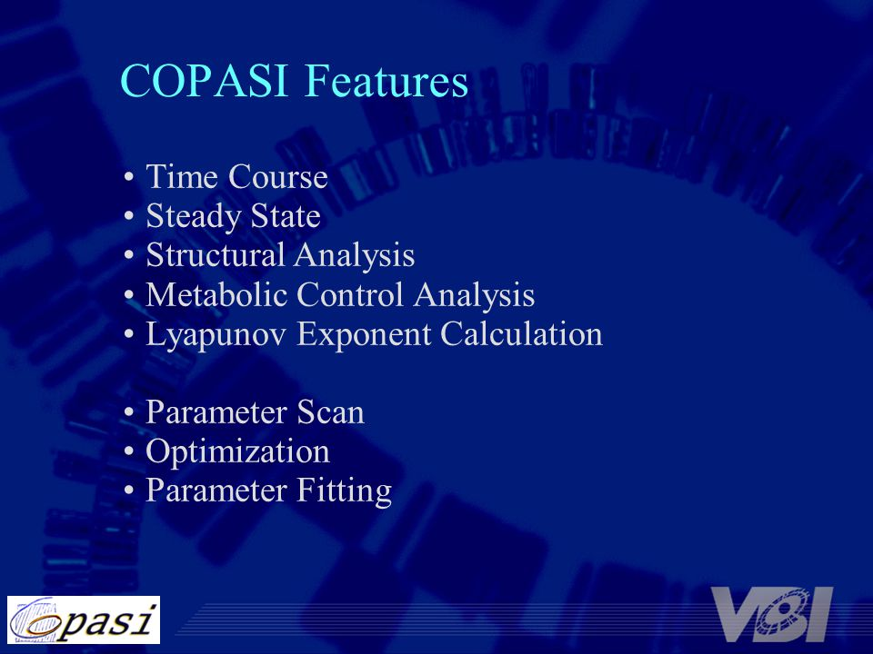 COPASI Features Time Course Steady State Structural Analysis