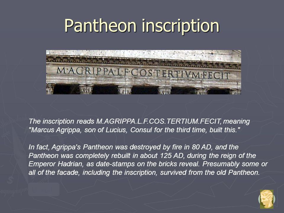 Pantheon inscription back
